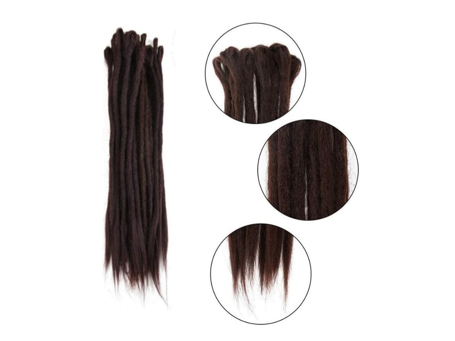 AOSOME Dreadlock Extensions (Synthetic Dark Brown Crochet Hair)