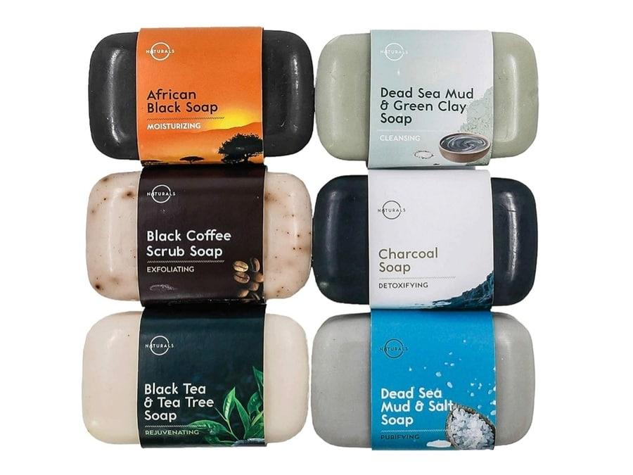 O Naturals 6-Piece Black Bar Soap